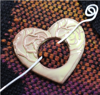 Pottery Shawl pin - Heart - Embossed Yellow Rose