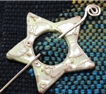 Pottery Shawl pin - Star - Golden yellow sheep