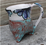 Pottery - Tripod Mug - Embossed Sheep and Majolica Blue Floral