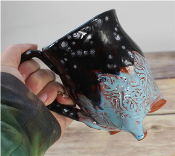 Pottery - Tripod  Mug - Feather - Aqua