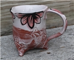 Pottery - Tripod Mug - Embossed Bike and Majolica Floral