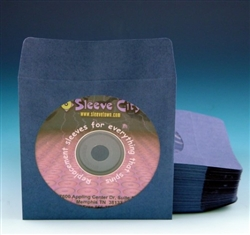 Blue Paper CD, DVD Sleeve With Flap (100 Pack)