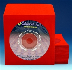 red paper cd dvd sleeve with flap