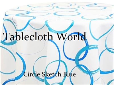 Cirlce Sketch Blue Custom Print Tablecloths
