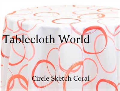 Cirlce Sketch Coral Custom Print Tablecloths
