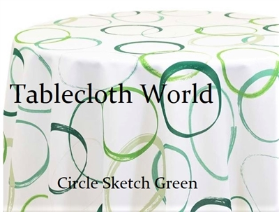 Cirlce Sketch Green Custom Print Tablecloths