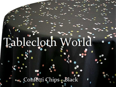 Confetti Chips Black Custom Print Tablecloths