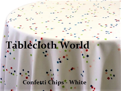 Confetti Chips White Custom Print Tablecloths