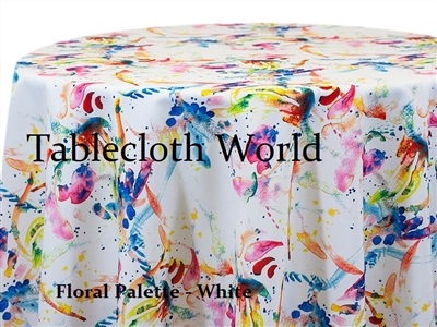 Floral Palette White Tablecloths