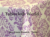 Faux Linen Damask Print Tablecloth