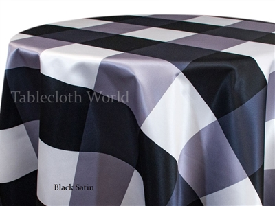 Giant Check Black Satin Custom Print Tablecloth