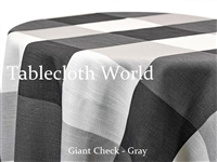 Giant Check Gray Custom Print Tablecloth