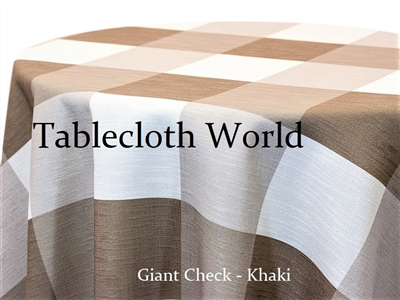 Giant Check Khaki Custom Print Tablecloth