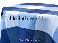 Giant Check Navy Custom Print Tablecloth