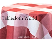 Giant Check Red Custom Print Tablecloth