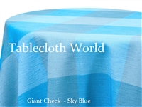 Giant Check Sky Custom Print Tablecloth