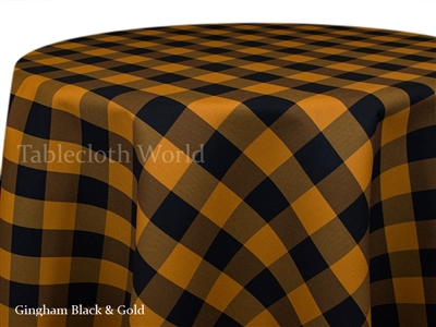 Gingham Check Black Gold Custom Print Tablecloths