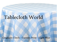Gingham Check Light Blue Custom Print Tablecloths