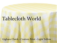 Gingham Check Light Yellow Custom Print Tablecloth