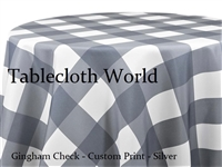 Gingham Check Silver Custom Print Tablecloth