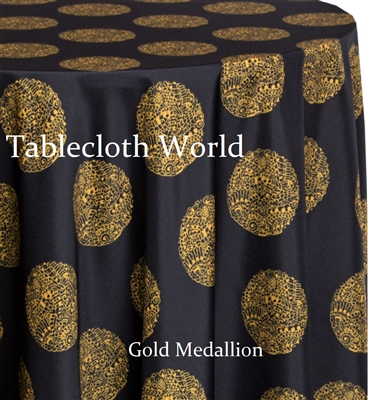 Gold Medallion Custom Print Tablecloths