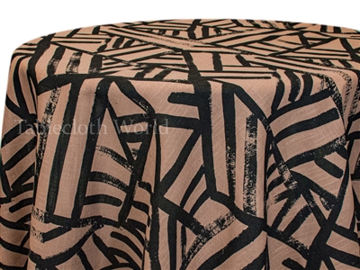 Kraal Black on Toffee Print Tablecloth