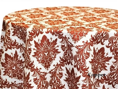 Naples Damask Copper Print Tablecloths