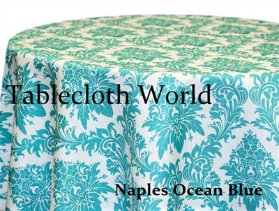 Naples Damask Ocean Blue Print Tablecloths