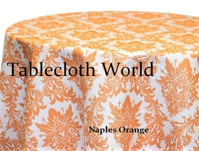 Naples Damask Orange Print Tablecloths