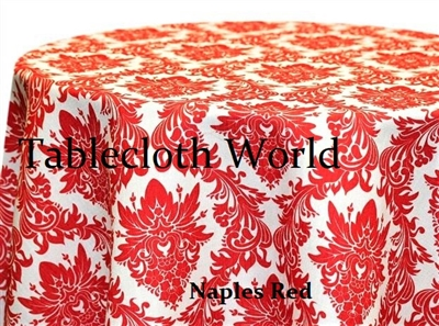 Naples Damask Red Print Tablecloths