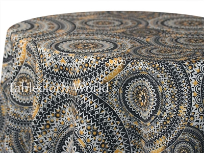 Rosette Print Gold Custom Print Tablecloths