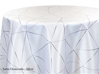 Satin Diamonds Silver Tablecloth