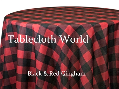 Black and Red Gingham Check Tablecloth