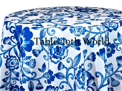 Blue China Floral Custom Print Pattern Tablecloths