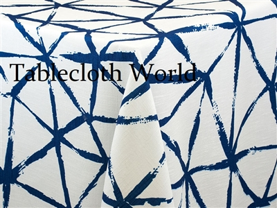 Brush Blue on White Custom Print Tablecloths