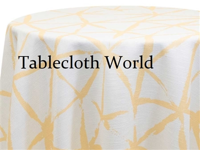 Brush Buttercup on White Custom Print Tablecloths