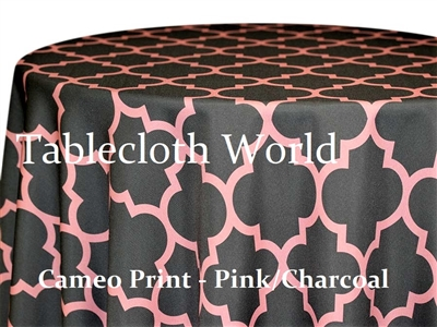 Cameo Print Pink on Charcoal Tablecloths