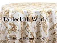 Christmas Dreams Gold Print Tablecloths