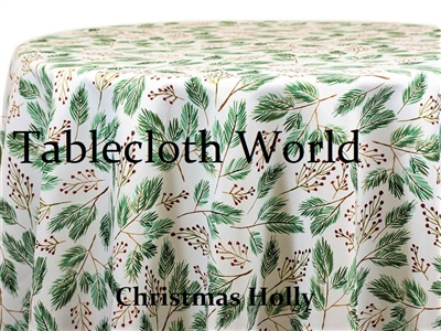 Christmas Holly Custom Print Tablecloths