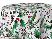 Christmas Mistletoe on White Print Tablecloths