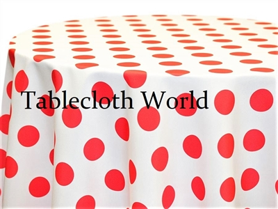 Giant Polka Coral on White Tablecloths