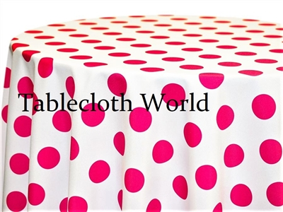 Giant Polka Fuchsia on White Tablecloths