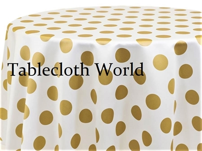 Giant Polka Gold on White Tablecloths