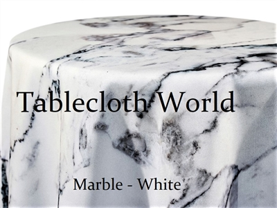 Marble White Custom Print Tablecloths
