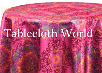Mumbai Damask Fuchsia Print Tablecloths