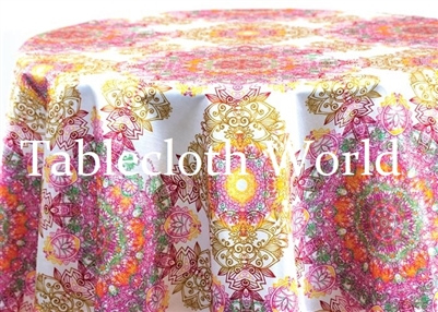 Mumbai Damask White Print Tablecloths