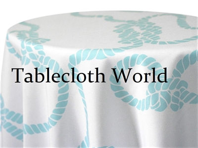Nautical Knot Light Blue White Print Tablecloths