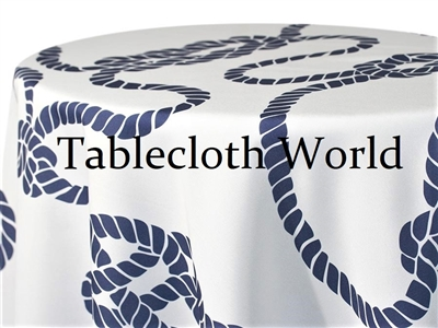 Nautical Knot Navy on White Print Tablecloths