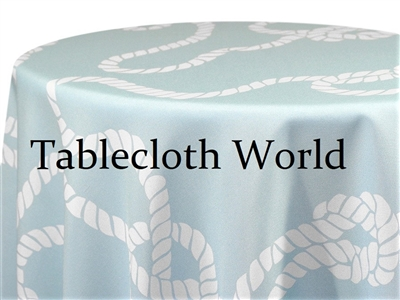Nautical Knot White on Blue Print Tablecloths