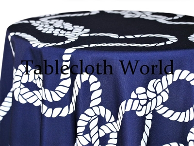 Nautical Knot White on Navy Print Tablecloths